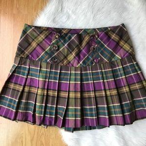 Torrid Womens 14 Plaid Skirt Purple Brown Pleated